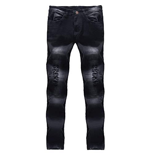 In Slim Chern Skinny Elasticizzati Uomo Con Jeans Vestibilità Pantaloni Fit Fori Invecchiato Denim Nero Effetto TYavv7