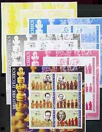 Benin 2002 History of Chess imperf sheetlet set of 6 values each with Scouts Logo, the set of 5 progressive proofs CHESS SCOUTS JandRStamps