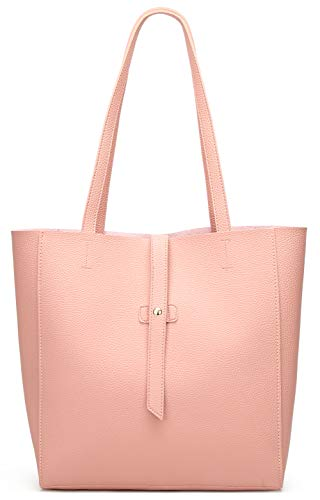 Dreubea Women's Large Tote Shoulder Handbag Soft Leather Satchel Bag Hobo Purse Pink (Retro Leather Tote)