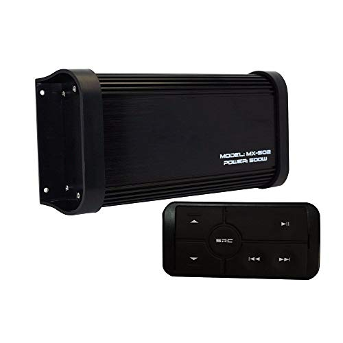 500 Watts 4 Channel Class A/B Waterproof Motorcycle Marine Bluetooth Amplifier Boat Stereo Audio Receiver Sound System MP3 Player with Aux in RCA Out for Boat ATV UTV Powersports Tractor Truck