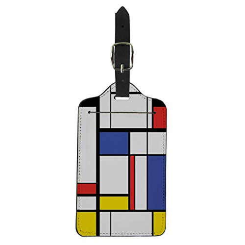Semtomn Luggage Tag Blue Cubism Abstract Modern Painting in Mondrian Colorful Artistic Suitcase Baggage Label Travel Tag Labels