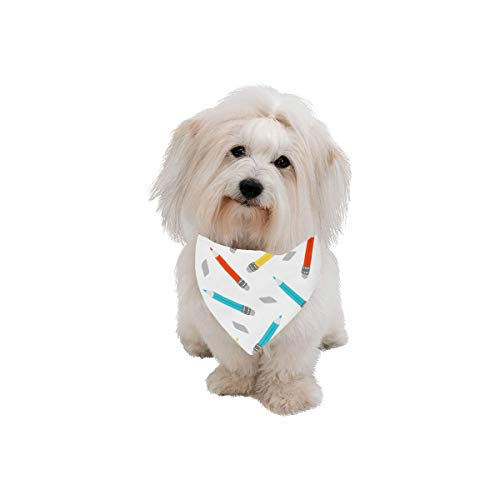 AIKENING Pet Dog Cat Bandana Pencil Stationery Color Creative Art Fashion Printing Bibs Triangle Head Scarfs Kerchief Accessories for Large Dog Pet Birthday Party Easter Gifts