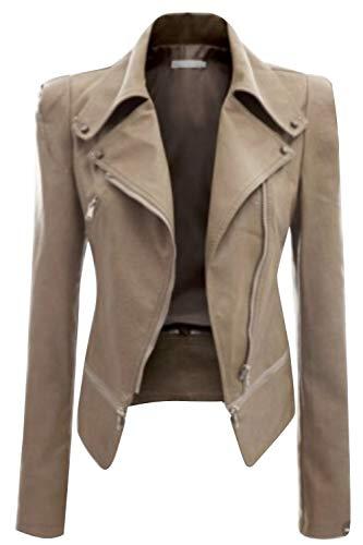 Revers Femmes Veste Pardessus Slim Moto Coureur Pu Abricot Complet Zip xHS0w1q