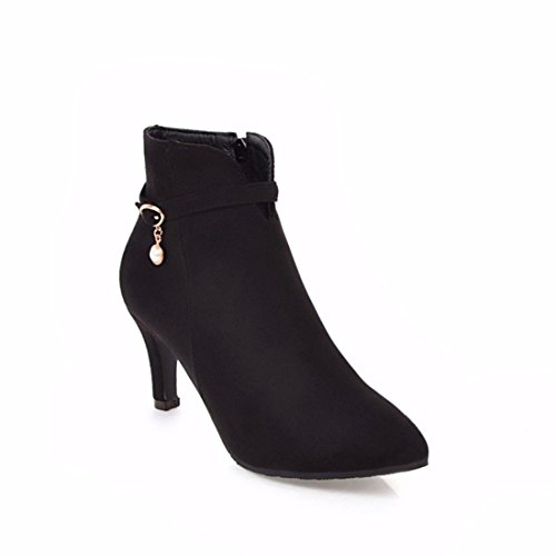 El otoño y el invierno y tacones de aguja heels botas botas de gamuza perla de tamaño. black