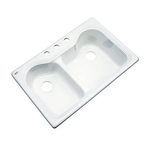 Dekor Sinks 56300 Buckingham Double Bowl Cast Acrylic Kitchen Sink-3 Hole, 33