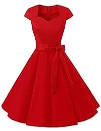 MUADRESS Women's Retro 1950s Cap Sleeve Vintage Rockabilly Prom Swing Dresses