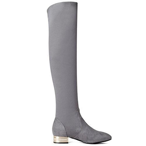 Boots High Women Pull Long On KemeKiss Knee Casual Autumn Winter Grey wgnxU0q