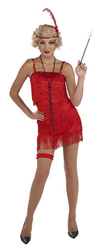 Womens 1920s Costume Red Fringe Flapper Girl Dress * Womens US XL (fit 14 to -