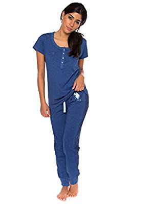 U.S. Polo Assn. Women's Short Sleeve Shirt and Long Pajama Pants Sleepwear Set
