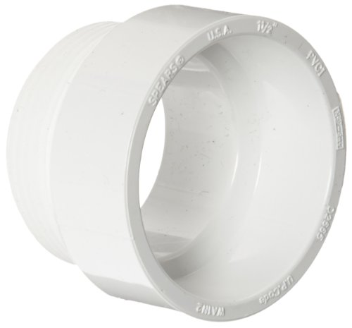 Spears P109 Series PVC DWV Pipe Fitting, Adapter (Will Not Accept Tail Piece), 1-1/2