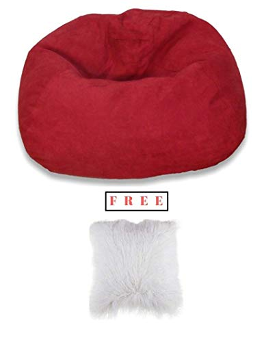 Bean Bag Chair Large Microsuede Bean Bag Chair in Red Finish with Free