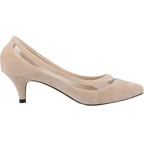 Mei & S Womens Toed Stiletto Flat Mouth Prom Tacchi Alti Da Sposa Pompe Apricot