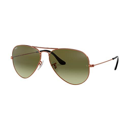 Ray-Ban Men's Aviator Sunglasses, Bronze/Green, One Size (Glasses Ray Ban Aviator Green)