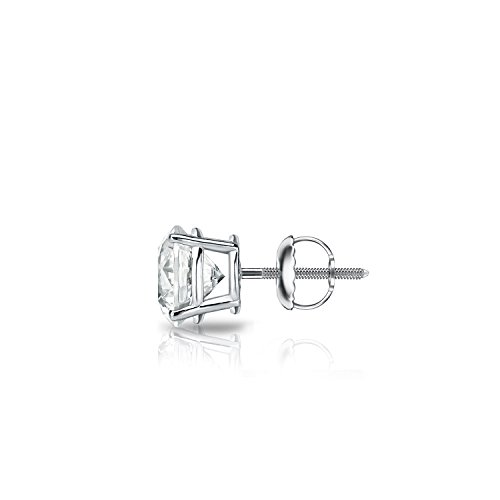 14k White Gold Men Round Diamond Simulant CZ SINGLE STUD Earring 4-Prong(3/8ct,Excellent Quality)