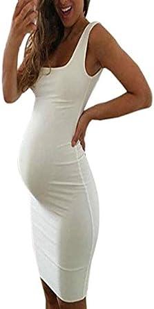 Ropa Premamá, YiYLunneo Vestido Embarazadas Mujeres Cuello Redondo Pure Maternity Manga Larga Blusa Superior Vestir De Embarazadas Modernas Secos: Amazon.es: Ropa y accesorios