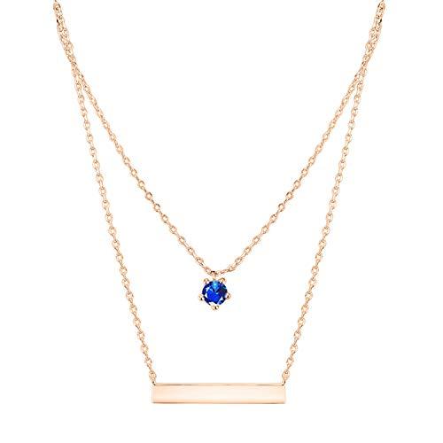 (PAVOI 14K Rose Gold Plated Swarovski Crystal Birthstone Bar Necklace Pendant Engraveable Septebmer)