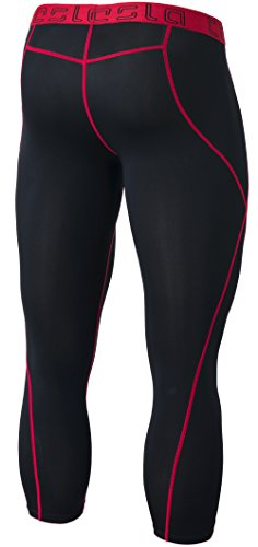 TM-MUC18-KKR_Large TSLA Men's Compression Capri Shorts Baselayer Cool Dry Sports Tights MUC18 by TSLA (Image #2)