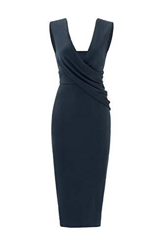 78c9cbdb1dd Cushnie Et Ochs Ibiza Jasmine Blue Draped Pencil Dress 0
