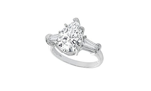 Women Pear Cubic Zirconia CZ Solitaire Engagement Wedding Bridal Ring (Pear Cut Cubic Zirconia Solitaire)