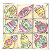 Pink Ink Stamps Box of Ornaments Rubber Stamp