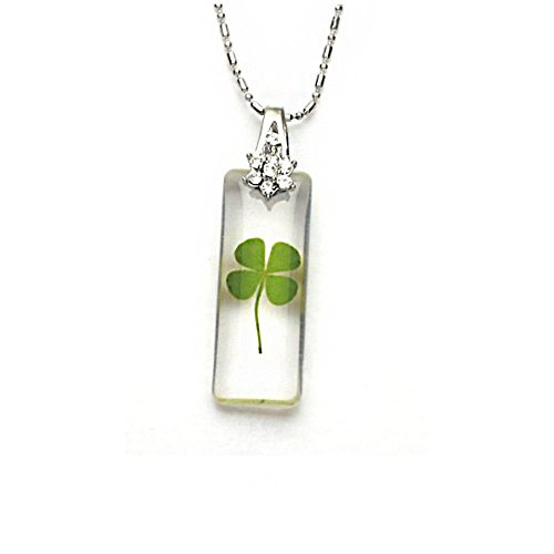 stainless-steel-real-four-leaf-clover-good-luck-rectangular-clear-pendantnecklace-16-18-inches
