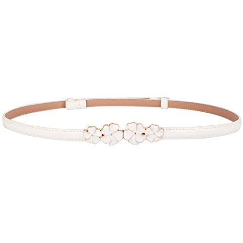 (MoYoTo Women's Stylish Bowknot Buckle Thin Patent Leather Waist Belt For Dress (Flower-White))