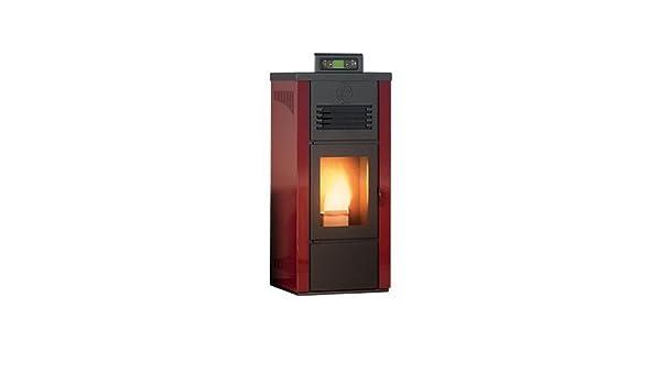 Estufa a PELLAS Palladio Islandia revestimiento de acero Potencia térmica 8 kW - 220 m3 calefactables - Profundidad 39 cm - Color Burdeos: Amazon.es: ...