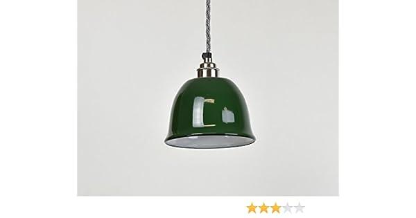 Campana verde pequeña taza esmalte industrial Vintage Factory estilo almacén lámpara pantalla: Amazon.es: Iluminación