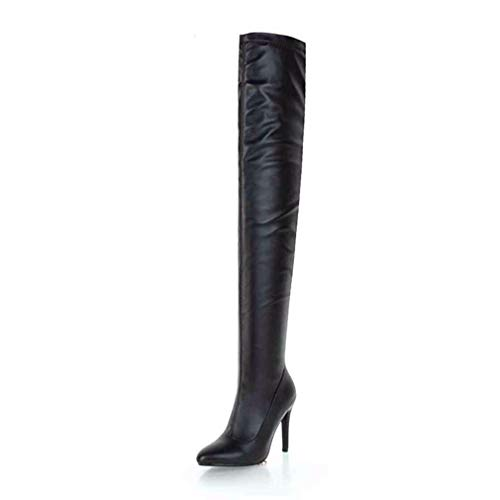 Wonen's Over-The-Knee Boots Solid Plush Zip Pointed Toe Thin Heels Keep Warm Shoes