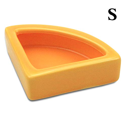 TDPET Mini Reptile Gecko Worm Dish - Ledge Ceramic 1/4 Round Feeder Corner Space Saving Designing (Orange-S) (Extra Corner Large Bowl)