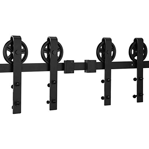 EaseLife 12 FT Double Door Heavy Duty Big Wheel Sliding Barn Door Hardware Track Kit - Ultra Hard Sturdy | Slide Smooth Quiet | Easy Install | Fit Two 30''~36'' Wide Door | 12FT Track Double Door Kit by EaseLife (Image #3)