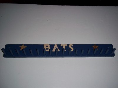 - Wood Baseball Mini Bat Rack Display 9-17 Bats Blue Decals Storage Wall Mount