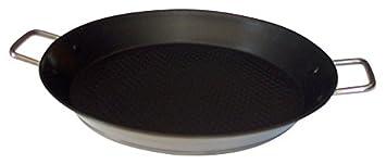 Callaway Paellera de INOX Antiadherente, 34 cm, Plateado/Negro