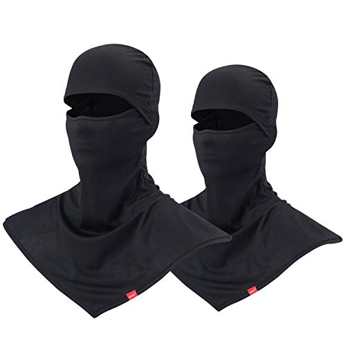 AIWOLU Balaclava Face Mask for Sun Protection Breathable Motorcycle Long Neck Covers in Summer for Men Hiking Fishing Trekking Walking (2 Pack Black)