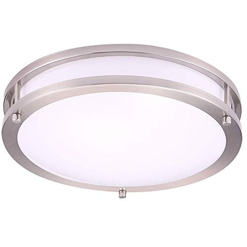 OSTWIN 12 Ceiling Light Fixtures-Dimmable LED Flush Mount for Kitchen Bedroom Bathroom-15W (100 W Eq.)-1500 Lm-4000K (Bright White)-Brushed Nickel Finish with Acrylic White Shade-ETL&Energy Star