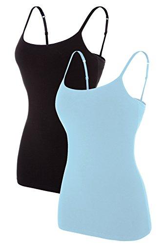 Vegatos 2 Pack Women Stretch Cotton Camisole Built-in Bra Cami Tops Black/Blue M
