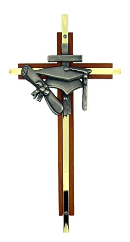 Brass and Wood Wall Cross with Silver Toned Graduation Emblem, 7 Inch