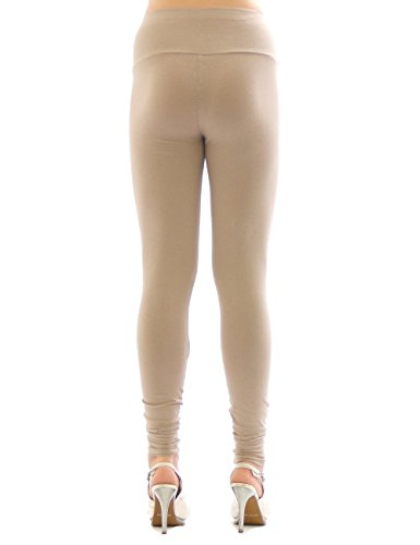 YESET Femme Leggings pantalon long leggings en coton Taille haute MARRON M