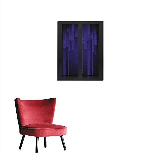 longbuyer Corridor/Indoor/Living Room Abstract Blue Rectangle Shapes Banner Mural 16