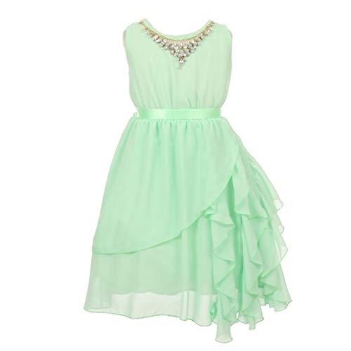 KiKi Kids USA Big Girls Mint Multi Chiffon Necklace Ruffle Flower Girl Easter Dress 10 from KiKi Kids USA