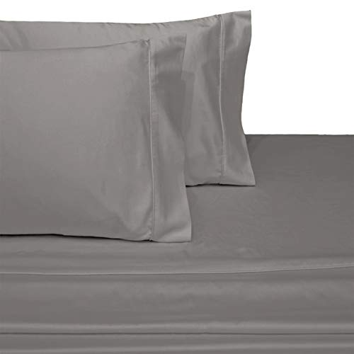 Exquisitely Lavish Sateen Solid Weave Bedding by Pure Linens, 300 Thread Count 100-Percent Plush Cotton, 5 Piece Split King (Adjustable Bed) Size Deep Pocket Hemmed Sheet Set, Gray