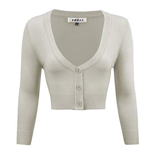 YEMAK Women's Cropped Bolero Cardigan – 3/4 Sleeve V-Neck Basic Classic Casual Button Down Knit Soft Sweater Top CO129-LGR-M Light Grey