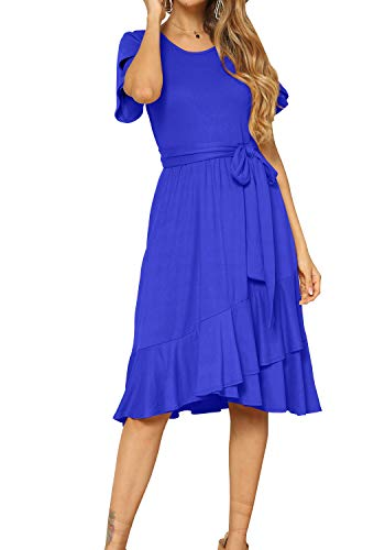 (Women Short Sleeve Casual Flowy Ruffle Teen Midi Belt Dress Blue XL)