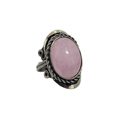 Mia Jewel Shop Natural Semi Precious Oval Shaped Gemstone Silver Rope Edge Adjustable Ring (Pink Rose Quartz)
