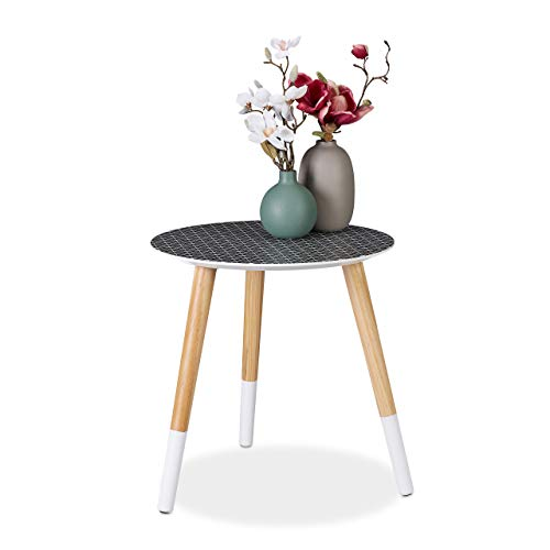 Relaxdays Round Side with Decorative Pattern, Low Wooden Tripod Table, HxD 40.5x40cm, Black/White/Natural Mesa Auxiliar Redonda, DM-Madera, Negro-Blanco-Marron, 40,5 x 40 cm