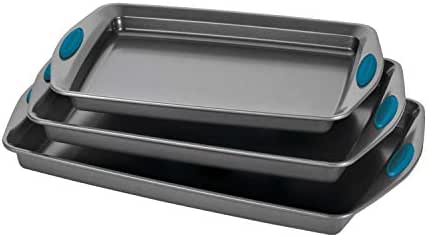Rachael Ray 47425 Nonstick Bakeware Set with Grips, Nonstick Cookie Sheets / Baking Sheets - 3 Piece, Gray with Marine Blue Grips
