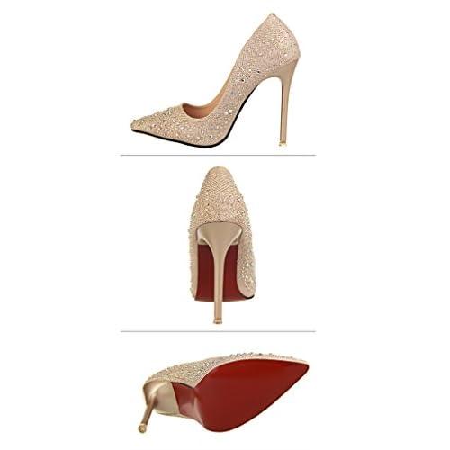 8cdf0e8c Delicado Minetom Mujer Primavera Dulce Boda Zapatos de Tacón Elegante  Brillante Rhinestone Zapatos Tacón Alto Zapatos