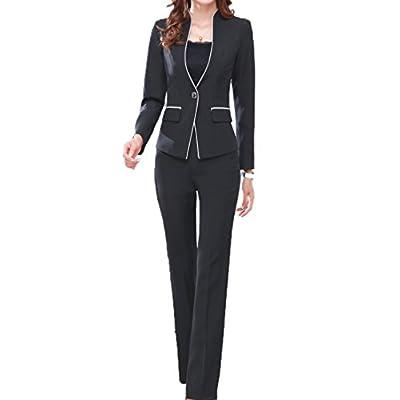 MFrannie Women's Elegant Layer Business OL Coat and Pants Slimming Suit Set: Clothing