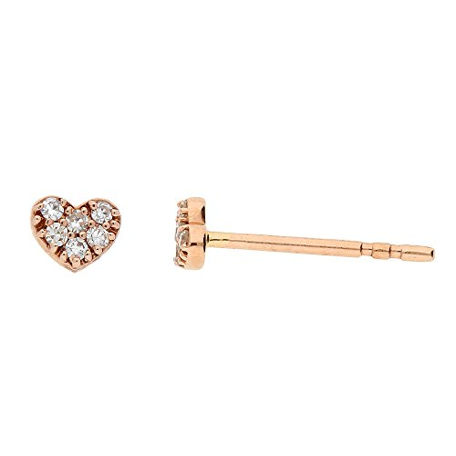Ladies 14kt Rose Gold .06ct Diamond Heart Earrings (Valentinesdaygifts)