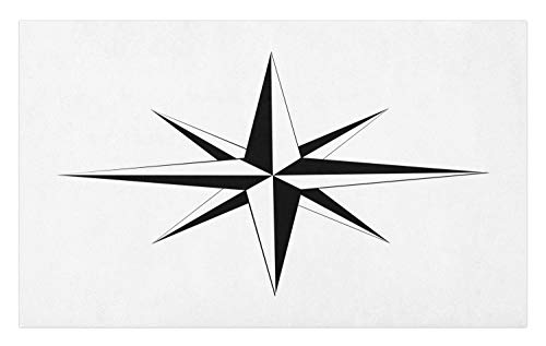 (Lunarable Vintage Nautical Tattoo Doormat, Simplistic Illustration of a Windrose Maritime Themed Star Print, Decorative Polyester Floor Mat with Non-Skid Backing, 30